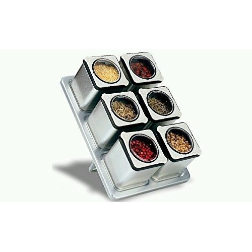 Carteret Home Collection CHC-90431 Magnetic Spice Rack With 6 Tin Jars (Pice Rack compare prices)