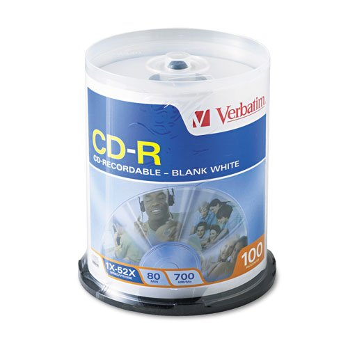 100pk Cdr 52x 700mb 80min Blank White Surface Non-Printable