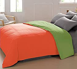 AURAVE Reversible Style Solid Plain Peach & Green Cotton Duvet Cover/ Quilt Cover -Single Size (Gift Wrapped)
