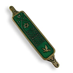 Mezuzah Traditional Green Enamel