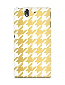 AMEZ designer printed 3d premium high quality back case cover for Sony Xperia Z (gold white pattern)