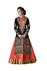 Justkartit Women's Orange and Black Colour Georgette and Bhagalpuri Silk Long Anarkali Style / Gown Style Semi-Stitched Wedding Wear / Engagement wear Dress Material
