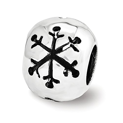 Cutout Snowflake Charm in Sterling Silver for 3mm Bead Bracelets