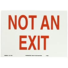 "Brady 115919 14"" Width x 10"" Height B-586 Paper, Red On White Color Sustainable Safety Sign, Legend ""Not An Exit"""