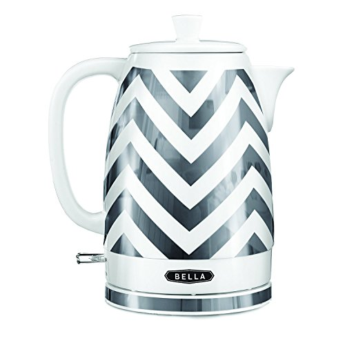 Best Price! BELLA 14537 Electric Ceramic Kettle, Silver/Chevron