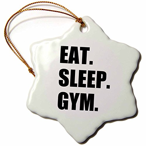 3dRose orn_180409_1 Eat Sleep Gym Text Gift for Exercise and Keep Fit Fitness Enthusiast Snowflake Ornament, Porcelain, 3-Inch