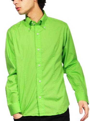 ブロード 長袖 シャツ 日本製 シンプル(グリーンM)