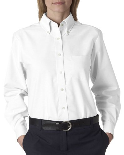 UltraClub Women's Button Down Long-Sleeve Dress Shirt, white, Small