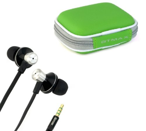 iKross In-Ear 3.5mm Noise-Isolation Stereo Earphones With Handsfree Microphone Headset- Green Carrying Case for Motorola, Blackberry, iPhone, iPod Touch, Samsung, LG, HTC, Nokia, Casio, Pantech, Huawei, Acer, Asus, Toshiba, Archos, Cell Phone, Smarphone, MP3 Player, and more