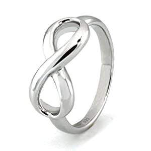TIONEER Sterling Silver Classic Infinity Ring, Size 4