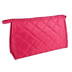 Fuchsia Lozenge Pattern Zip Up 3 Pockets Sundry Cosmetic Kit Bag for Women