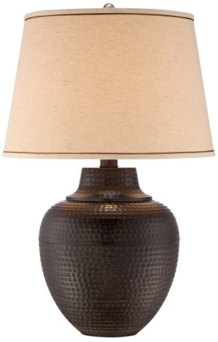 Brighton Hammered Pot Bronze Table Lamp front-962749