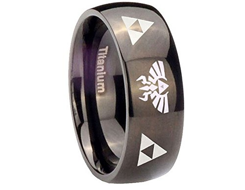 The Legend of Zelda Stainless Steel Triforce Costume Ring Black (10)