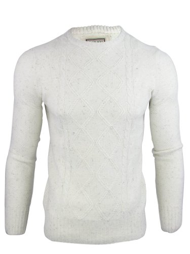 Brave Soul 'Terry' Mens Crew Neck Knitt Jumper Cable Pattern - Ecru