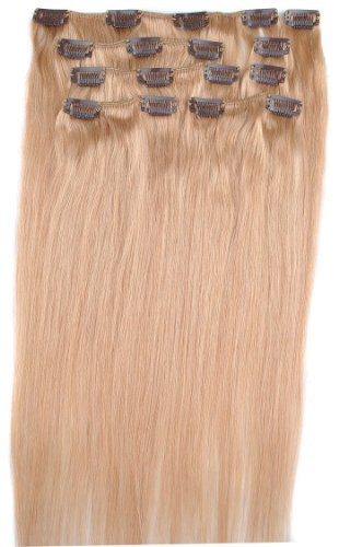 Yazilind Clip in Straight Remy Real Human Hair Extensions 20″ 100g 8pcs 27# Strawberry Blonde Full Head Set