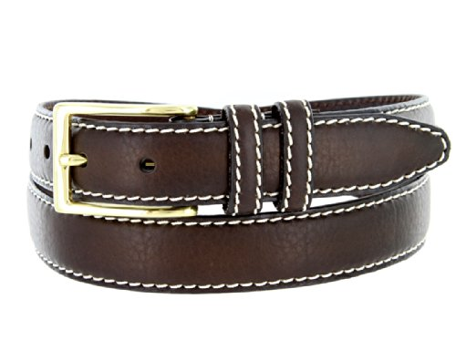 "Mens 100% American Bison Leather Dress Belt Made in USA 1 1/8"" Wide(Brown,38)"