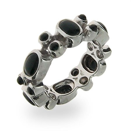 Sterling Silver Black Onyx Stackable Band Size 9 (Sizes 6 7 8 9 Available)