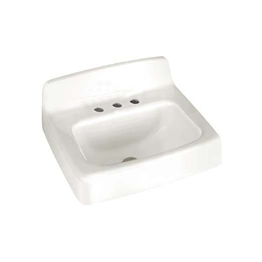 American Standard 4869.008.020 Regalyn Enameled Cast Iron Wall Hung Sink with 8-Inch Faucet Spacing, White