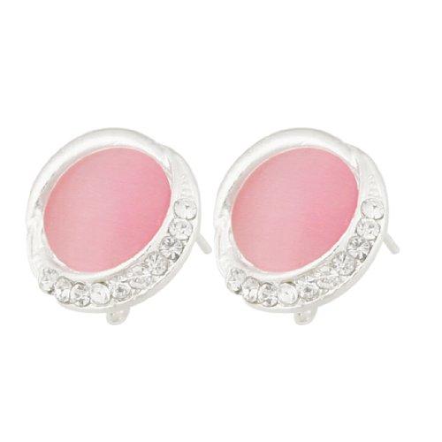 Rosallini Lady Rhinestone Decor Pink Plastic Stone Centering Pierced Earrings Pair