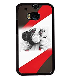 Fuson Music Girl Back Case Cover for HTC ONE M8 - D3884