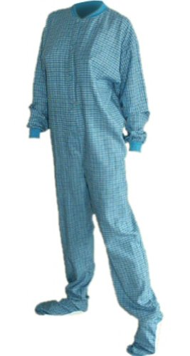 Turquoise Plaid Flannel Adult Unisex Footed Pajamas W/ Drop-Seat (M) front-622051