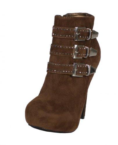 Adele-7! By Rck Bella Diamond Studded Tripple Buckle Strap Hidden Platform Round Toe High Heel Ankle Bootie With Side Zipper, Brown Faux Suede, 10 M