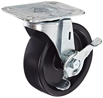 E.R. Wagner Plate Caster, Swivel with Pinch Brake, Polyolefin Wheel