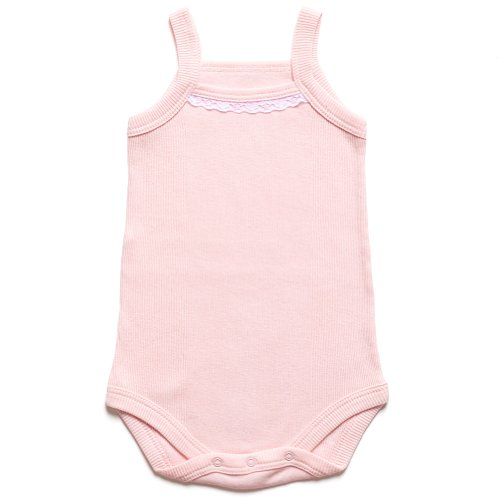 """Kid U Not"" Exclusive Fine Baby Rib Pink Camisole Onesie With White Lace Trim. (12-18 Months)"