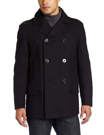 Nautica Men's Melton Pea Coat, Black, XX-Large