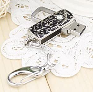 Panda 8GB Black and Silver Thorn Design with Crystal USB flash drive