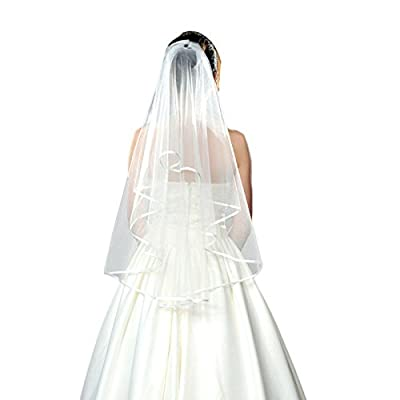 New 2 Layer Ribbon Edge Cathedral Elbow Bride Wedding Party Veil With Comb White