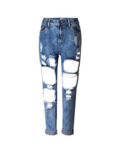 SaiDeng Donne Fidanzzato Distrutto Jeans Strappato Lavato Denim Tempo Libero Pantaloni Fiore Blu 26