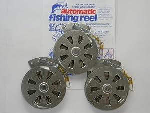 3 Mechanical Fisher's Yo Yo Fishing Reels -Package of 3 Reels- Yoyo Fish Trap -(FLAT TRIGGER MODEL) by HogWilder