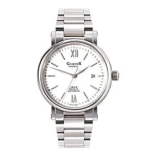 CHENS M005.01A Reloj Analógico Mecánico Para Caballero Correa Plateada De Acero Inoxidable Esfera Blanca Hecho En Suiza
