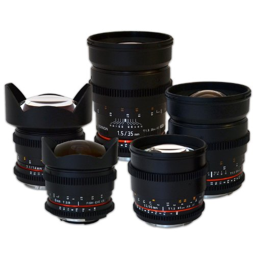 Full Rokinon Cine Lens Kit - 35Mm + 24Mm + 14Mm + 85Mm + 8Mm For Canon Bundle