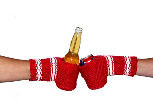 Boozy Kuzy Beer Gloves - Knit Beer Mitt (Twin Pack) Cold Drink & Beer Cozy Glove: Red/White
