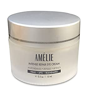 Amélie Eye Cream with Retinol For Puffiness, Sagging, Under-Eye Bags & Wrinkles. Intense Repair Formula For Aging Skin. Organic Ingredients Include Peptides, Antioxidants, Hyaluronic Acid. (0.5 oz)