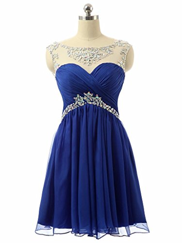 Changjie Womens Bridesmaid short Evening Dress with Sparkling Embellished Waist