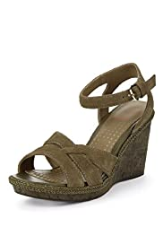 Footglove&#8482; Fashion Leather Spotted Wedge Sandals