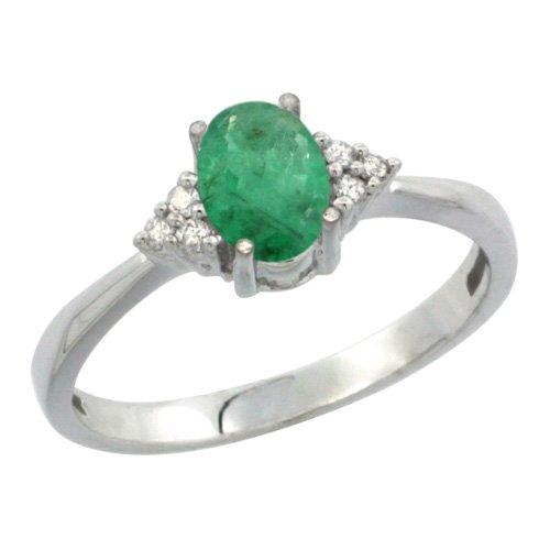 Revoni 14ct White Gold Diamond Natural Emerald Ring Oval 0.85 ct. 7x5 Stone, sizes J - T 1/2