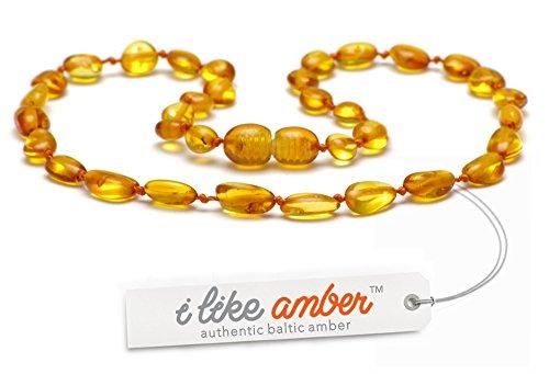 Collana d'ambra DI QUALITÀ SUPERIORE -Super sicuro - La migliore qualità di ambra baltica su Amazon - Misure da 29 a 45 cm - Garanzia di rimborso e di soddisfazione del 100% di 100 GIORNI! / HNY.P33