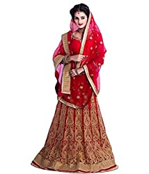 Khazanakart Designer Red Color Net Fabric Un-stitched Lehenga Choli With Chiffon Dupatta Material.