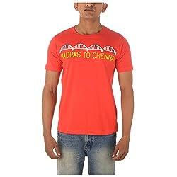 Chennai Gaga Men's Round Neck Cotton T-shirt Madras To Chennai 112-3-811-Red-L