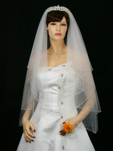 2T 2 Tier Beaded Edge Bridal Wedding Veil - White Fingertip Length 36""