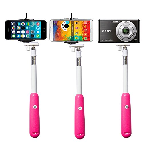 2014 New!!!Savfy® Hot Pink *Build-In Bluetooth Shutter* Universal Selfie Self-Portrait Extendable Telescopic Handheld Pole Arm Monopod Camcoder/Camera/Mobile Phone Tripod Mount Cradle For Iphone,Samsung, Moto G,Htc, Nokia,Blackberry Etc.