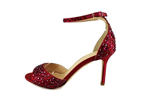 LELLA BALDI sandali donna rosso raso strass AH824 (37 EU)