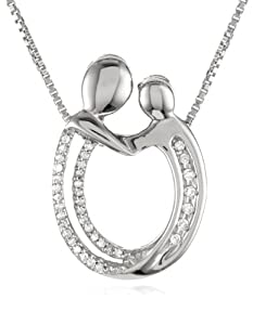 Sterling Silver Diamond Oval Mother and Child Pendant Necklace ( .12 cttw, I-J Color, I3 Clarity), 18""
