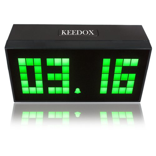 KEEDOX® Large Big Jumbo LED Snooze Digital Wall Desk Alarm Clock Calendar Time Temperature Clock--Green Light