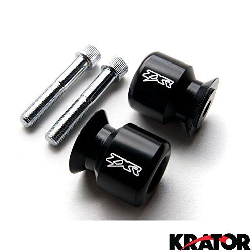 """Krator® Black Kawasaki Ninja """"ZX-R"""" Engraved Swingarm Spools Sliders - ZX6R, ZX-14, ZX9R, ZX10R, ZX12R and More! (1998-2011)"""