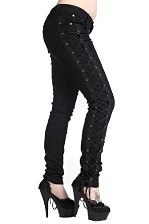 Banned Gothic Rockabilly Steampunk Cyber Black Side Corset Skinny